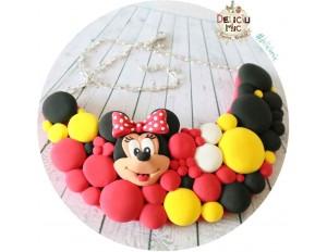 "Colier ""Minnie Mouse"" in nuante de rosu galben si negru"