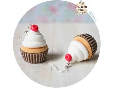 Cercei Cupcake cu frisca si cireasa