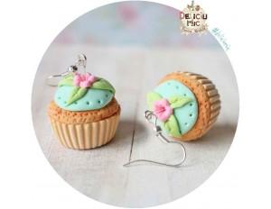 Cercei Cupcake turcoaz cu floricica roz