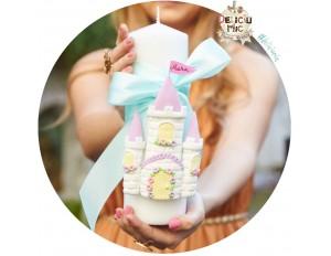 """Lumanare Pitica de botez """"Castel"""" - personalizata cu numele bebelusului"""