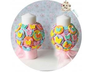 Set 2 Lumanari pitice de nunta - Fluturi multicolori