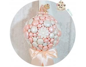 Lumanare de botez cu flori, fluturi si perle sidefate. peach & ivoire - cu fundita peach