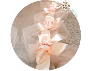 Aranjament pentru Cristelnita si Cadita - tiul si panglica peach decorat cu perle sidefate