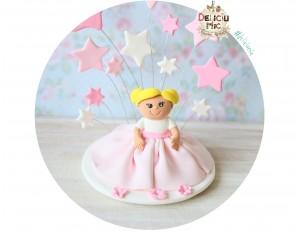 """Figurina de tort """"Fetita cu rochita roz""""  si stelute pastel"""