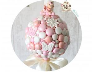 Lumanare de botez cu perle sidefate ivoire, roz, peach cu fundita ivoire