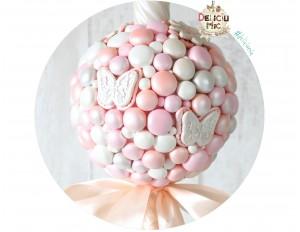 Lumanare de botez cu perle sidefate peach, ivoire, roz, cu fundita peach
