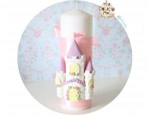 """Lumanare Pitica de botez """"Castel"""" cu fundita roz, personalizata cu numele bebelusului"""