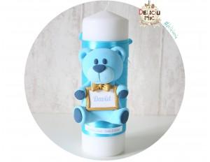 """Lumanare Pitica de botez """"Ursulet"""" - personalizata cu numele bebelusului"""