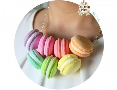 "Colier handmade ""7 Macarons"" din pasta polimerica"