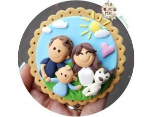 "Magnet personalizat ""Potret de Familie-Mama, Tata, Bebe si Catel"""