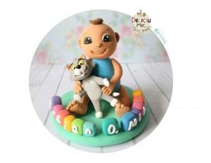Figurina de tort Bebe & Tom si numele pe Cuburi