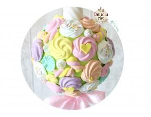 Lumanare de botez cu marshmallows si bezele peach, roz, galben, alb & bleu