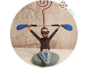 Figurina aniversara Caiac / Canoe + suport pentru poza