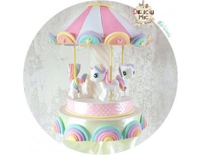 """Lumanare botez """"Carusel Unicorni"""" - panglica crem"""