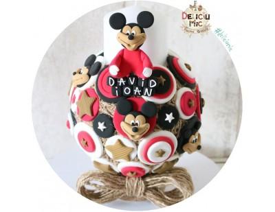 """Lumanare de botez """"Mickey Mouse"""" & insertii de iuta"""