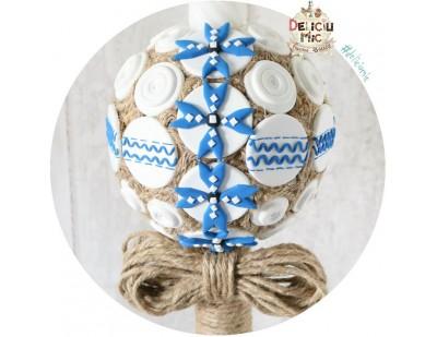 Lumanare scurta de botez cu motive traditionale Romanesti albastre + insertii din sfoara iuta