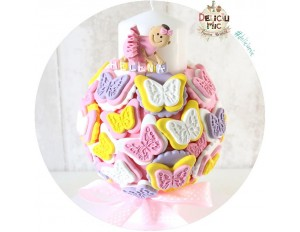 "Lumanare ""Pitica"" de botez cu Fluturi (roz, lila, alb, galben)"