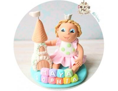 """Figurina de tort """"Printesa si castelul fermecat  personalizata cu numele"""