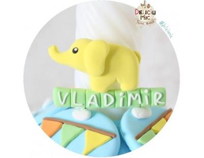 Marturie magnet Elefantel - personalizat cu numele bebelusului