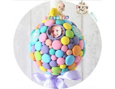 Lumanari botez cu buline multicolore personalizata cu pozele bebelusului