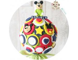 """Lumanare de botez """"Mickey Mouse"""" cu panglica verde cu buline albe"""