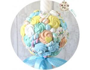 Lumanare de botez cu dulciuri din pasta polimerica