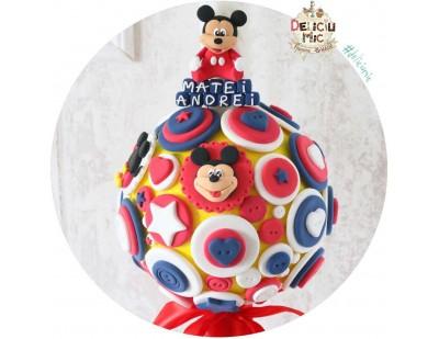 """Lumanare de botez Scurta """"Mickey Mouse"""" cu panglica rosie"""
