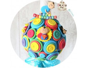 "Lumanare de botez Scurta ""Supereroi"" (Winnie, Superman, Mickey mouse)"