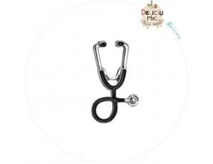 Brosa Pin Stetoscop Negru