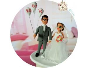 Figurine tort nunta cu baloane personalizate cu data nuntii