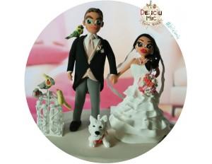 Figurine tort nunta - Mire & Mireasa alaturi de catelul westie si cei 4 papagali
