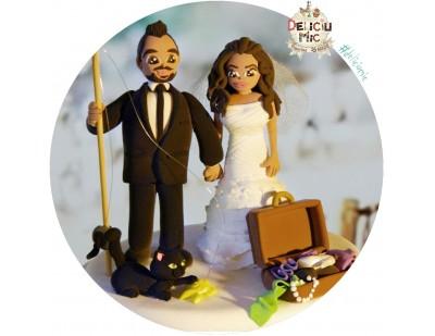 Figurine Tort Nunta - Mire Pescar, Mireasa, Pestisor, Pisica si geamantan