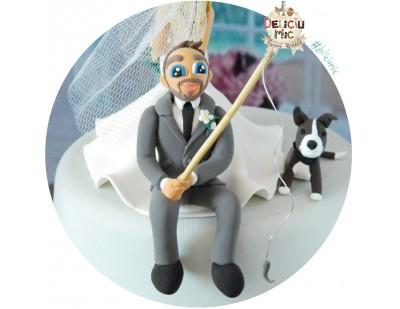 Figurine tort nunta - Mirele pescuieste pe marginea tortului & catel