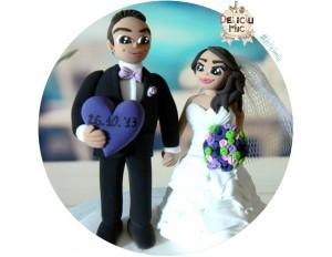 Figurine de tort Mire si Mireasa & Inimioara personalizata