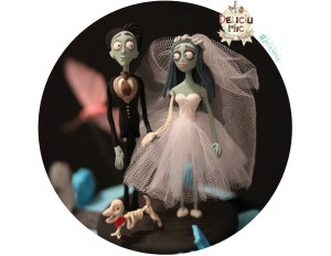 "Figurine tort Nunta ""Corpse Bride"" si schelet de catel"