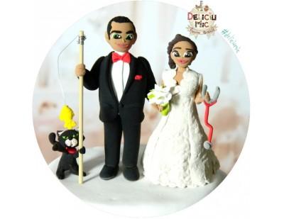 Figurine de Tort Mireasa Medic cu stetoscop si Mirele pescar cu undita cu pestisor & Pisica