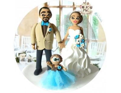 Figurine de Tort pentru Nunta - Mire, Mireasa si fetita