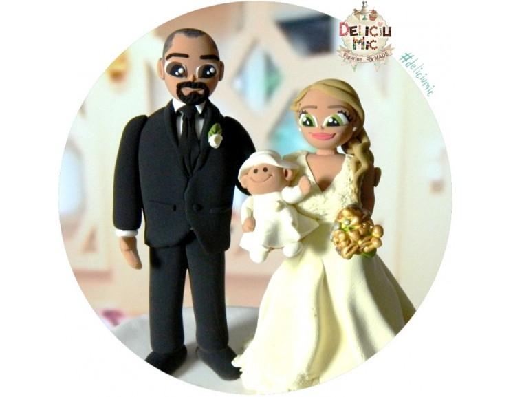 Figurine De Tort 2 In 1 Nunta Botez Mire Mireasa Bebe