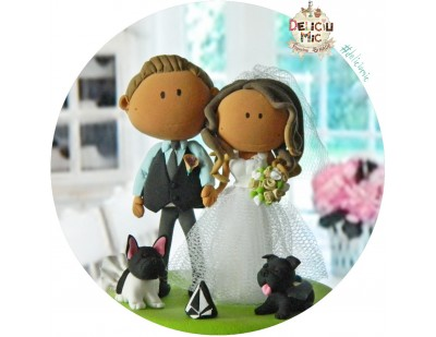 Figurina de tort Mire, Mireasa & 2 catei, rasa pug mops