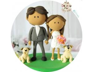 Figurina de tort Mire, Mireasa  & 2 catei