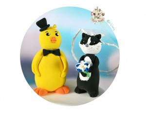 Figurine Tort Nunta Pui & Bursuc