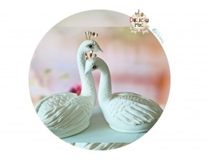 Figurine de Tort Nunta  - Lebede /  Pauni albi