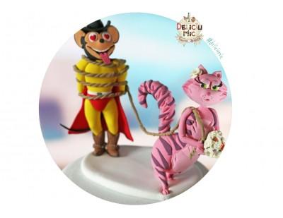 Figurine Tort Nunta Mirele Mighty Mouse si Mireasa Pisicuta