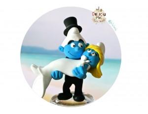 Figurine de Tort pentru nunta - Mire si Mireasa Strumfi