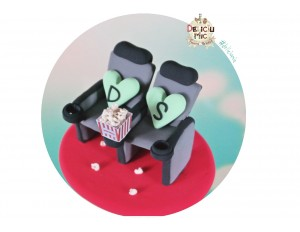 Figurine de Tort pentru Nunta Scaune de Cinema & Popcorn