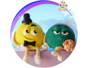 Figurine Tort Nunta bomboane m&m Galben si Verde