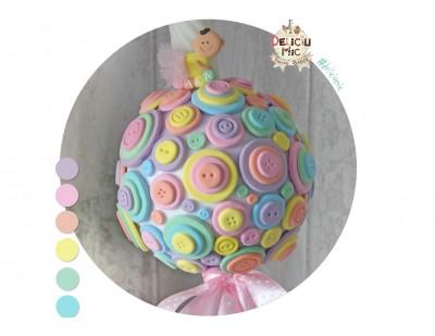 Lumanare de botez cu nasturei multicolori