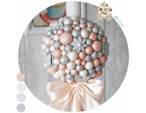 Lumanare de botez cu flori si perle sidefate - pentru fete / baieti