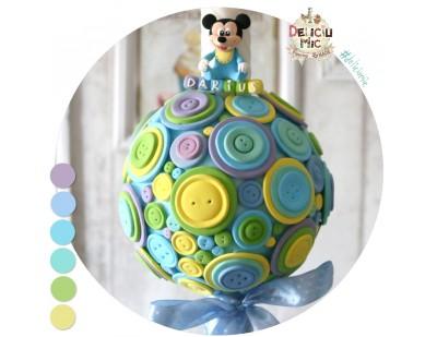 Lumanare de botez pentru baieti decorata cu magnet detasabil Mickey Mouse (achizitionat separat)
