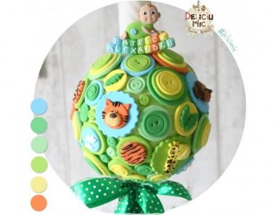 """Lumanare de botez """"Jungla verde"""" decorata cu animalute"""